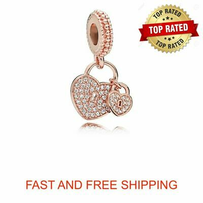 Authentic Pandora ROSE Gold Collection HEART PADDLOCK DANGLE Charm 781807CZ