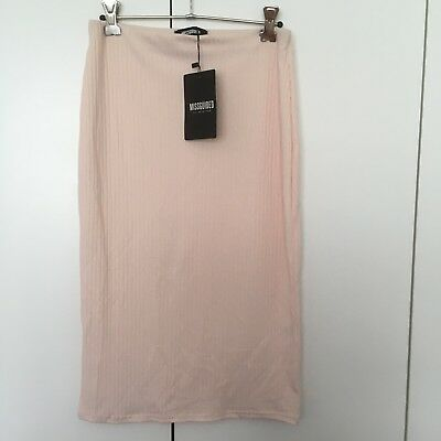 Missguided Nude Light Pink Skirt NWT Size 10 Ribbed Mid Length