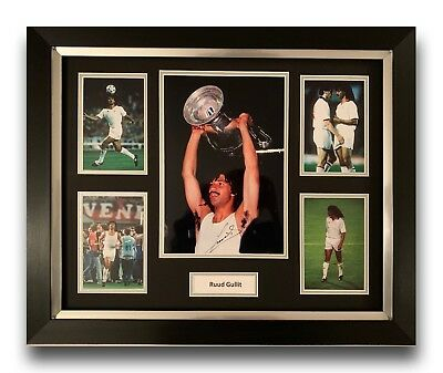 Ruud Gullit Hand Signed Framed Photo Display Ac Milan Football Autograph.