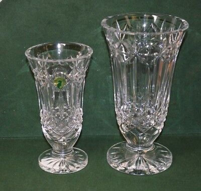 Two Waterford Crystal Balfour Vases 7 Inch and 8 1/2 Inch