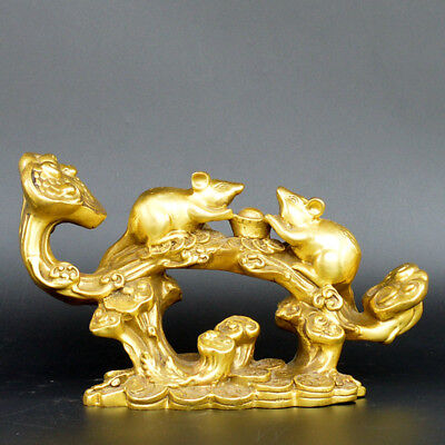 Chinese old collection handwork brass The Chinese Zodiac rat statue