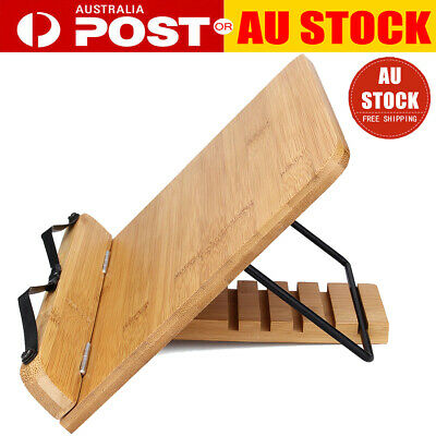 Protable Adjustable Bamboo Tablet iPad Cookbook Reading Book Stand Holder Rack