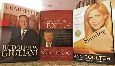 Constitution in Exile Napolitano Leadership Giuliani Slander Coulter 3 book Lot
