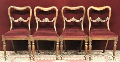 Rosewood Balloon Back Chairs Dining NEW  Mohair Fabric Four