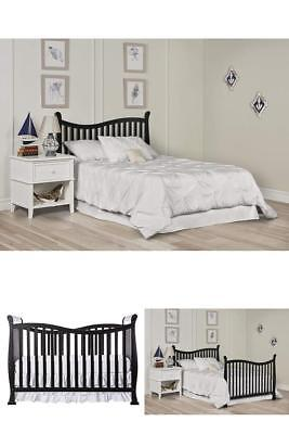 Baby Crib 7 in 1 Convertible Toddle Mini Bed Dream On Me Nursery New Black