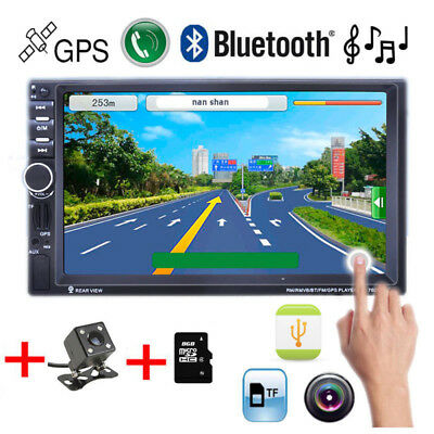 """Touch TF/AUX/FM/USB Remote MP5 Player Bluetooth GPS 7"""" HD 2DIN Car Radio Stereo"""