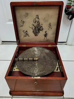 """Regina Wind Up Music Box With 10 - 11"""" Discs Works Tested Key wood old antique"""