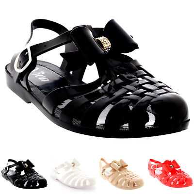 5926762b8f66 Womens Jelly Shoes Festival Beach Buckle Diamante Bow Gladiator Sandals UK  3-9