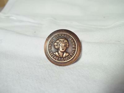 Little Orphan Annie Brass Secret Society Pinback Brooch Premium Button Pin Radio