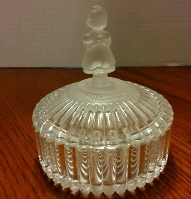Hummel Goebel Lead Crystal Trinket Box Avon 1993 Flower Girl Frosted Round