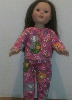 "18"" Doll Clothes-fit American Girl Boy My Life-Top/Pants--Pajamas-Pink w/Cats"