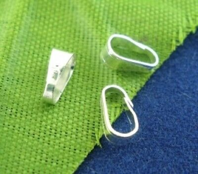 100-200 Pinch Bails Clasps Silver Plated Alloy 7mm x 3mm (B01865)