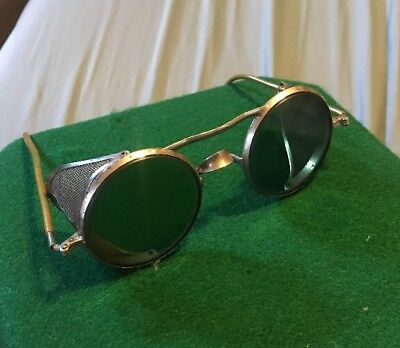 Vintage Wilson Safety Goggles Mesh Sides Steampunk Motorcycle Tinted Lenses