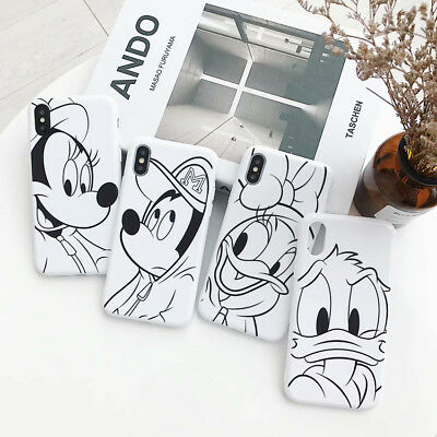 For iPhone X XS Max XR 6 7 8 Plus Line Disney Thicken Phone Case Cover Back