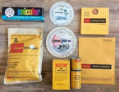 Lot Vintage Kodak Darkroom Supplies Developer Safelight Filter + Thermometer Etc