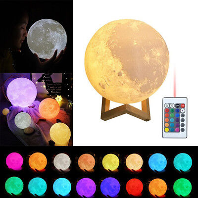 3D Luna Night Light Moon Lamp Rechargeable16 Color Change Touch Switch Remote