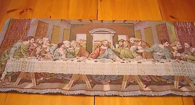 Vintage The Last Supper Italy Jesus Dining Woven Tapestry Wall Hanging Art Decor