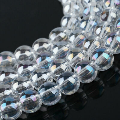 10Strand 6~6.5mm Electroplate Clear Glass Ball Bead Round AB Color 136pcs/strand