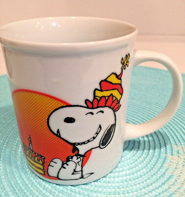 Peanuts- SNOOPY  and WOODSTOCK  Vintage Happy Birthday Coffee Mug Japan 1965