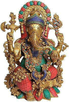 """Decorative Gift Turquoise Coral Inlay Work Lord Ganesha Brass Lotus Statue 16"""""""