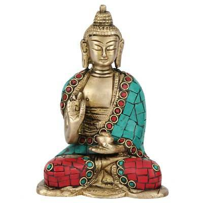 Mini Inlay Lucky Corporate Gift Sitting Buddha Idol Decor Statue Showpiece 4""