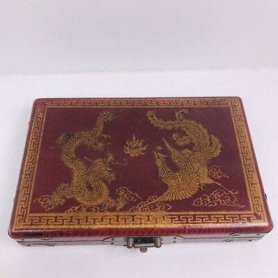 Chinese Wooden Box Dragon Peacock Oriental Styling With Dominos