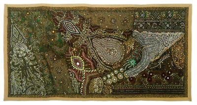 """Wall Hanging Indian Vintage Tapestry Mat Home Decor Ethnic Handmade 20X40"""" ##00F"""