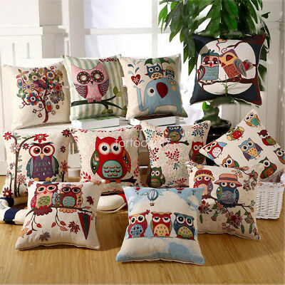 Vintage Owl Cotton Linen Pillow Case Sofa Waist Throw Cushion Cover Home Decor