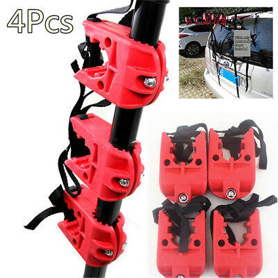 """4PCS Universal Heavy Duty Rubber Bicycle Bike Rack 1""""-1.7"""" Red For Car Truck SUV"""