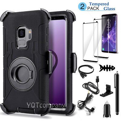 For Samsung Galaxy S9 Plus Note 9 Case With Ring Holder Stand + Screen Protector