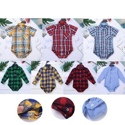 Baby Boys Formal Plaid Dress Shirt Gentleman Romper Party Wedding Casual Outfit