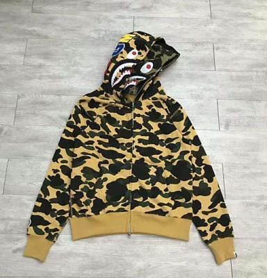 7c6b0df1bc3e 2018 Men s Japan Bape TWO Shark Head Hoodie Zipper A Bathing Ape Camo Jacket