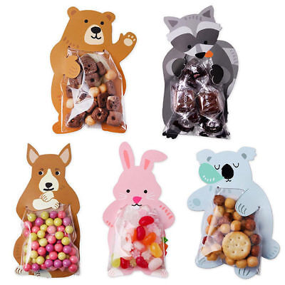 10x Animal OPP Bags Cards Kid Vintage Favour Sweet Biscuit Gift Bag Beauty