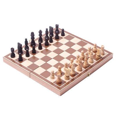 Wooden Pieces Chess Set Folding Board Box Wood Hand Carved Gift Kids Toy 30x30cm