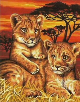 New! African Lion Cubs Tapestry Canvas 50X40Cm Ready To Stitch & Enjoy Forever!
