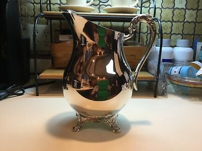 "1883 FB ROGERS SILVER FOOTED WATER JUG  ICED TEA WINE PITCHER w/ICE LIP  9""H"