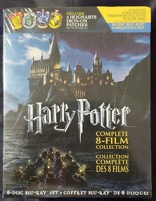 New Harry Potter: The Complete 8-Film Collection + 4 Iron-on Patches (Blu-ray)