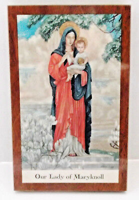 """OUR LADY OF MARYKNOLL Vintage Wooden Plaque 7""""x4.5"""" Duraglass Madonna & Child"""