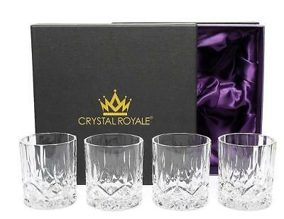 Grandeur Whiskey Glasses Luxury Gift Box Set of 4 Lead Free Double Crystal