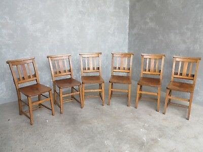 Set of 6 Old Church Chairs - Edwardian Chapel Chairs - Reclaimed Seats