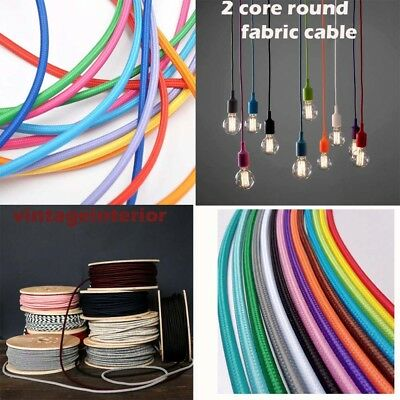 Round 2Core Braided Fabric Electric Vintage Colours Cable Lighting Lamp Flexible