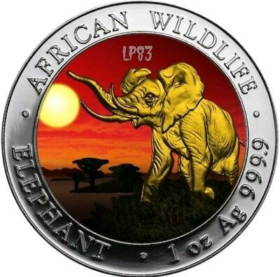 2016 1 Oz Silver AFRICAN ELEPHANT AT SUNSET Coin WITH  24K GOLD GILDED.