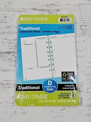 NEW Day-Timer Traditional Undated Planner, Calendar Refill - 2 Pg/day Size 4