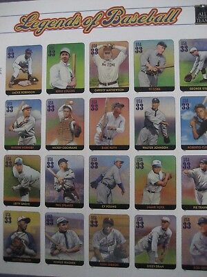 Scott #3408  LEGENDS  OF  BASEBALL  33 cent  -Sheet of 20 MNH