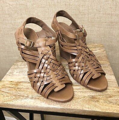 2b72c68a251 Womens Tory Burch Nadia Wedge Sandal Brown Size 9M Wood Heel Strappy Woven
