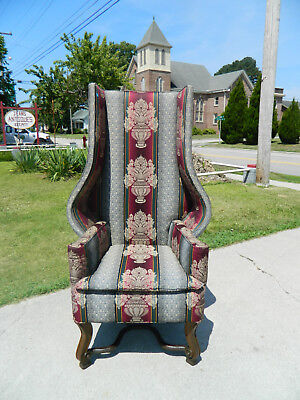 Jacobean Style High Back Fireside Chair