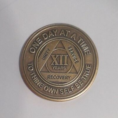 NEW aa bronze alcoholics anonymous 12 year sobriety chip coin token medallion