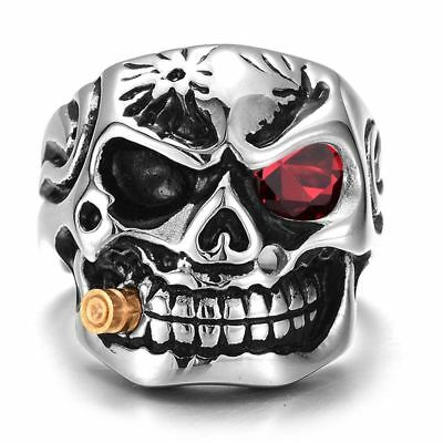 Crystal Smoking Skull Gothic Punk Ring Mens Red White Hiphop Rock Biker Jewelry