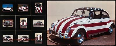 1960S Vw Beetle American Flag Car Parked On Street 35Mm Photo Slides Volkswagon