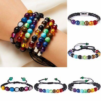 7 Chakra Adjustable Yoga Lava Beads Stone Woven Black Bracelet Bangle Party Gift